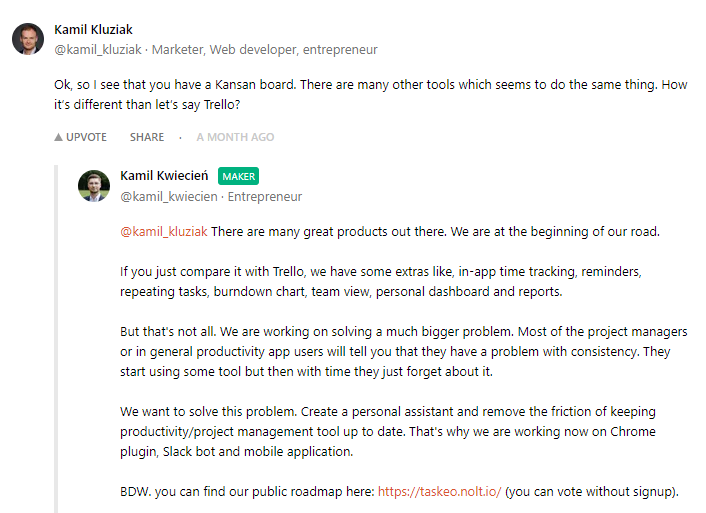 discussion on taskeo during product hunt launch