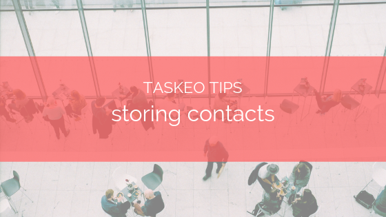 storing contacts in taskeo tip banner