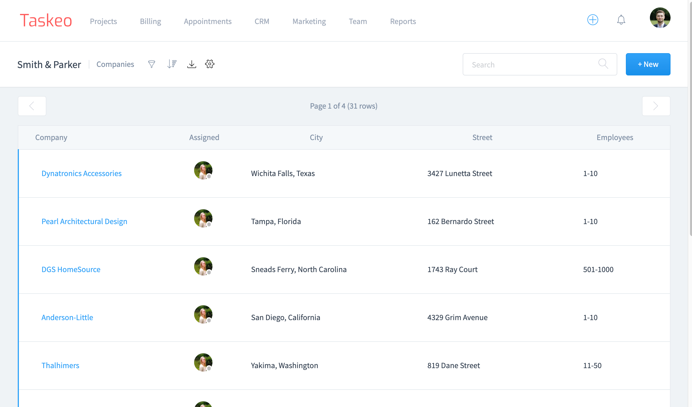 Screenshot of Taskeo CRM